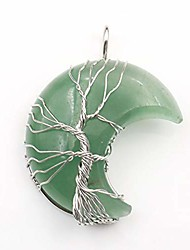 cheap -tree of life wire wrapped crescent moon necklace reiki healing crystal stone collars natural gemstone quartz jewelry for women girls meditation yoga necklaces-green