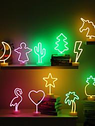 cheap -Night Ligh Stars Moon Cactus Pineapple Coconut Tree Love Popsicle Hello Rose Led Backplane Neon Lights for Bedroom Decor