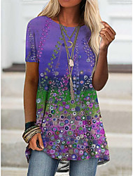 cheap -2021 amazon aliexpress spring new foreign trade cross-border fashion women's short-sleeved digital printing t桖9112