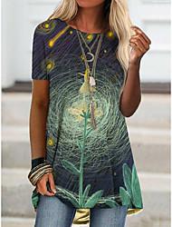 cheap -2021 amazon aliexpress spring new foreign trade cross-border fashion women's short-sleeved digital printing t桖9102