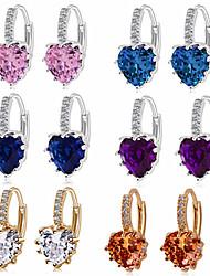 cheap -fashion earrings aaa zircon earrings peach heart multicolor jewelry