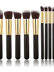 cheap -10pcs makeup brush set (black+gold)