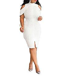 cheap -verwin plus size knee-length bead sleeveless turtleneck women's bodycon dress midi dress 5xl white