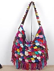 cheap -factory wholesale agent genuine leather sheepskin characteristic soft multi-color pattern tassel bag shoulder messenger female bag black color