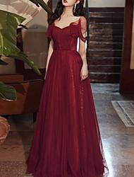 cheap -A-Line Glittering Elegant Engagement Formal Evening Dress V Neck Short Sleeve Floor Length Tulle with Sequin Tassel 2021
