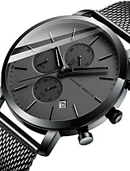 cheap -HANNAH MARTIN Men's Dress Watch Analog Quartz Formal Style Calendar / date / day Chronograph Three Time Zones / Stainless Steel / Stainless Steel / Japanese