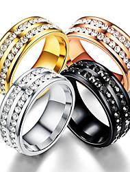 cheap -titanium steel point full diamond double row circle ring diamond ring new popular stainless steel ring