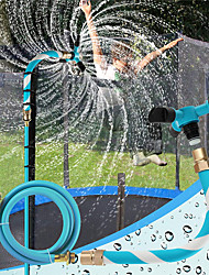 cheap -Trampoline Sprinkler for Kids Backyard Water Park WaterWhirl Outdoor Game Toys Adjustable Summer Toys Accessories Included Tool Free (Blue)