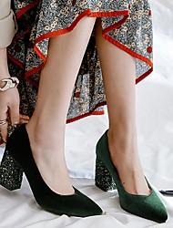 cheap -Women's Heels Chunky Heel Pointed Toe Nubuck Solid Colored Wine Black Green