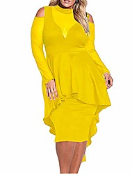 cheap -lrady women's sexy sheer mesh evening gowns plus size peplum high-low bodycon party dress, yellow, xxx-large