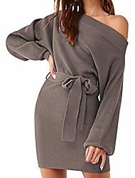 cheap -women's off shoulder bat long sleeve tie waist cable knit sweater mini dress khaki s