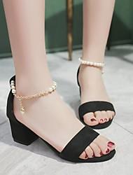 cheap -Women's Heels Cuban Heel Round Toe Suede Solid Colored Black