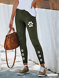 cheap -Women's Streetwear Chino Comfort Pants Slim Going out Work Pants Spot Color Block Ankle-Length Elastic Drawstring Design Print Blue Purple Wine Army Green Navy Blue