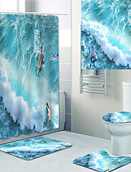 cheap -Beautiful Waves Printed Bathtub Curtain liner Covered with Waterproof Fabric shower Curtain for Bathroom home Decoration with hook floor mat and four-piece Toilet mat