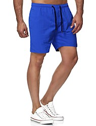 cheap -Men's Shorts Casual / Sporty Outdoor Casual Beach Chinos Shorts Pants Plain Short Drawstring White Black Blue Red Yellow