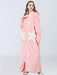 cheap -Womens Stars Printed Fleece Robe, Cute Flannel Long Plush Hooded Bath Robe
