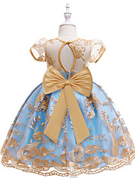 cheap -Kids Little Girls' Dress Jacquard Party Birthday Party Bow Blue Above Knee Short Sleeve Princess Cute Dresses Children's Day Slim 3-10 Years