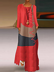 cheap -Women's Swing Dress Maxi long Dress White Red Khaki Gray Long Sleeve Color Block Geometric Spring Summer Casual 2021 S M L XL XXL 3XL 4XL 5XL