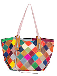 cheap -2020 new genuine leather picture-mother bag, fresh and fashionable handmade bag, plaid contrast color cowhide wholesale one-shoulder ladies bag