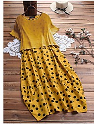 cheap -Women's Plus Size Dress Two Piece Dress Maxi long Dress Short Sleeve Polka Dot Mesh Casual / Daily Summer XL XXL XXXL 4XL 5XL