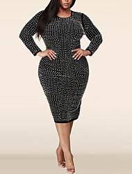 cheap -Women's Plus Size Dresses Sheath Dress Knee Length Dress Long Sleeve Plain Split Fall XL 2XL 3XL 4XL 5XL / Holiday