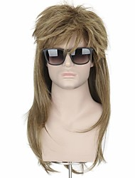 cheap -halloweencostumes Mens 80s Rock-mullet Wig -Brwon Fluffy Wig Hair Metal Halloween Costume Wigs(Only Wig Without Glasses)