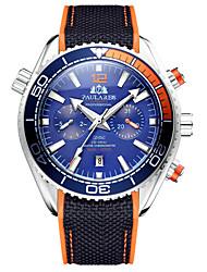 cheap -automatic mechanical luminous canvas rubber strap multifunctional men's watch
