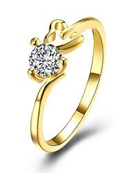 cheap -Ring Cubic Zirconia Geometrical Gold White Copper Flower Cute 1pc 6 7 8 / Women's