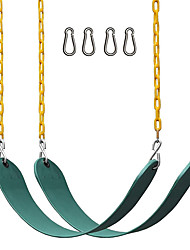 """cheap -2 Pack Swings Seats Heavy Duty 66"""" Chain Plastic Coated - Playground Swing Set Accessories Replacement with Snap Hooks (Green)"""