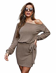 cheap -jmpj's women's off shoulder long sleeve knit sweater dress casual lightweight tie waist dresses stretchy mini bodycon dress (khaki, medium)