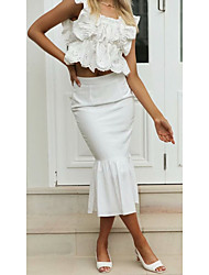 cheap -Women's Office / Career Daily Streetwear Sophisticated Skirts Solid Colored Ruffle Patchwork White