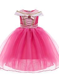 cheap -Kids Little Girls' Dress Color Block Bow Red Knee-length Sleeveless Active Dresses Summer Regular Fit 3-10 Years
