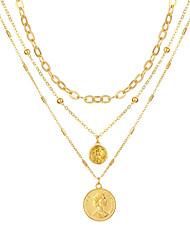 cheap -multi-layer chain necklace  human head pendant necklace bohemian necklace
