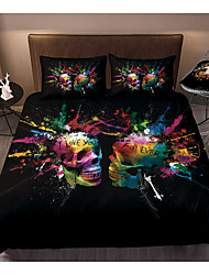 cheap -Colorful Tie Dye Duvet Cover Skull Set Boho Hippie Bedding Set Rainbow Tie Dyed Comforter Cover Skull Queen 3 Pieces for Kids Teens Adults 1