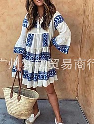 cheap -european and american cross-border foreign trade fashion printed v-neck long-sleeved pleated women's dress
