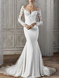 cheap -Mermaid / Trumpet Wedding Dresses V Neck Court Train Lace Satin Long Sleeve Sexy Backless Illusion Sleeve with Lace Insert 2021