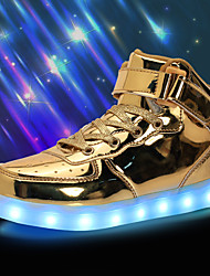 cheap -Boys' Sneakers LED Shoes USB Charging Halloween PU Slip Resistant Little Kids(4-7ys) Big Kids(7years +) Athletic LED Luminous Silver White Black Spring