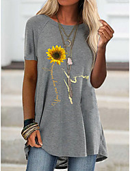 cheap -2021 amazon aliexpress spring new foreign trade cross-border fashion women's short-sleeved flower offset printing t 桖 9111