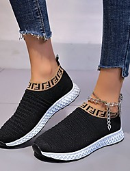 cheap -Women's Loafers & Slip-Ons Flat Heel Square Toe Knit Mesh Solid Colored White Black Blue