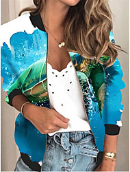 cheap -Women's Jackets Print Print Sporty Fall Jacket Regular Daily Long Sleeve Air Layer Fabric Coat Tops Blue