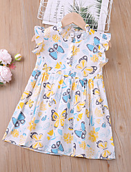cheap -Kids Toddler Little Girls' Dress Butterfly Animal Festival White Above Knee Sleeveless Regular Active Cute Dresses Children's Day Summer 3-8 Years
