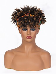 cheap -african american black human hair with wig headscarf gradation dark brown small curly short curly hair factory straight hair