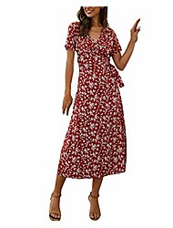 cheap -wocachi beach dresses for womens, ladies spring summer floral print dress v-neck short sleeve casual dress back to college school seasons dog mom mommy daughter cartoon grandma old birthday