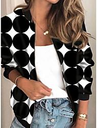 cheap -Women's Jackets Geometric Print Casual Fall Jacket Regular Daily Long Sleeve Air Layer Fabric Coat Tops Black