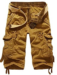 cheap -Men's Basic Slim Daily Shorts Tactical Cargo Pants Solid Colored Knee Length Wine Red Khaki Light gray Dark Gray Light Green / Summer
