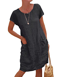 cheap -Women's Loose Knee Length Dress Short Sleeve Solid Color Pocket Summer Round Neck Casual 2021 S M L XL XXL 3XL 4XL 5XL