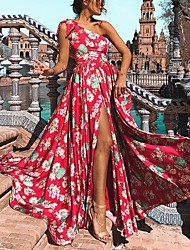 cheap -europe and the united states amazon vacation oblique shoulder bowknot long skirt wish explosion sources printed dress cy-227