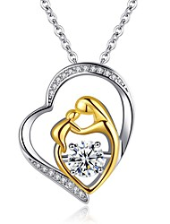 cheap -Women's Pendant Necklace Classic New Baby Heart Simple Alloy Picture color Silver 50 cm Necklace Jewelry 1pc For Festival