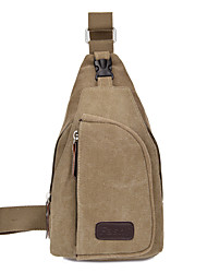 cheap -Unisex Bags Canvas Sling Shoulder Bag Chest Bag Solid Colored Sports Outdoor Canvas Bag Messenger Bag Black Army Green Khaki Brown