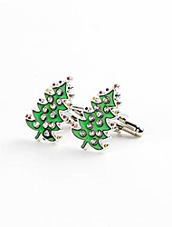 cheap -meolin 1 pair lovely men's cufflinks green crystals christmas tree cuff link ornaments for christmas party